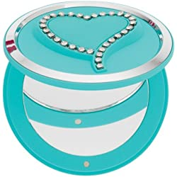 Danielle Soft Touch Heart Compact/Pill Box with Swarovski Crystals, Blue