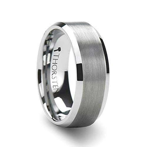 Finished Center (Thorsten - Sheffield Simple Matte Brushed Finished Center Tungsten Carbide Wedding Ring with Polished Beveled Edges Comfort Fit Lightweight Durable Wedding Band - 8mm)
