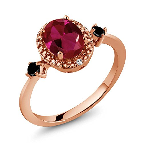 1.29 Ct Oval Diamond (1.29 Ct Oval Red Created Ruby Black Diamond 18K Rose Gold Plated Silver Ring With Accent Diamond)