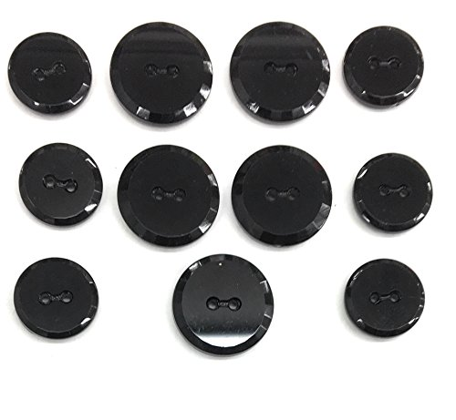 Jet Black Buttons SET - Glass 2 Hole Facated design,for Dress and Suits 11pc.