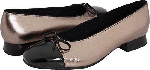 ara Women's Bel Ballet Fat,Titan Metallic Calf With Black Patent Tip,7 N US