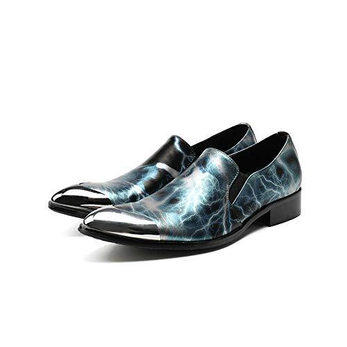 scarpe gli liscia compleanno 43 antiscivolo per Chlyuan uomo di EU 1 primavera regalo uomini punta pelle in business da 3 Dimensione a verde casual Scarpe autunno XafaOqU