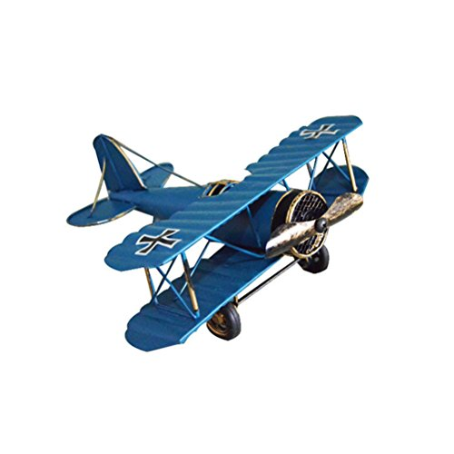 VORCOOL Vintage Airplane Model Metal Handicraft Wrought Iron Aircraft Biplane Pendant Toys Collectible Iron Art Sculpture Home Desk Workplace Office Decoration (Blue) by VORCOOL