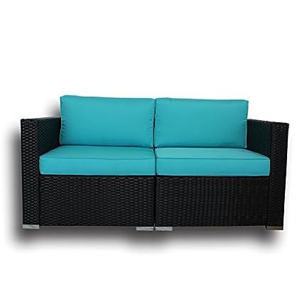 Etonnant LEAPTIME Patio Rattan Corner Sofa Match 7PCs Rattan Sofa Set Garden  Furniture Cushioned Sectional Conversation