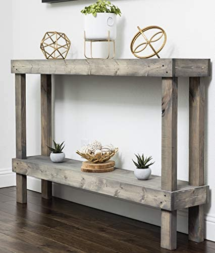 Rustic Luxe Large Wooden Sofa Table by Del Hutson Designs Grey