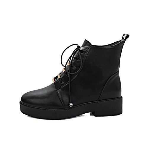 Mujeres Redonda Tacón Agoolar Suave Botas Colores Baja Surtidos Puntera Negro Caña Material Mini EqgEpd