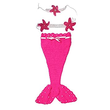df67fc24b Buy Babymoon Decut Baby Mermaid Bralette, Headband & Bottom Crochet  Clothing Swashh (Strawberry Pink) Online at Low Prices in India - Amazon.in