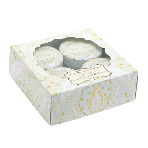 Dena Accessories Gibson (C.R. Gibson Dena Designs Be My Bridesmaid Invitation Box, 4 Bridesmaid and 1 Maid of Honor Invitation Boxes, Each Round Invitation Box Is 3