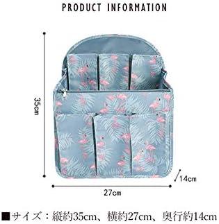 リュックインポケット バッグインバッグ リュック・デイバック 収納整理 男女兼用 バックインバック インナーバッグ 収納 小物整理 便利グッズ (Lサイズ-ストライプピンク)