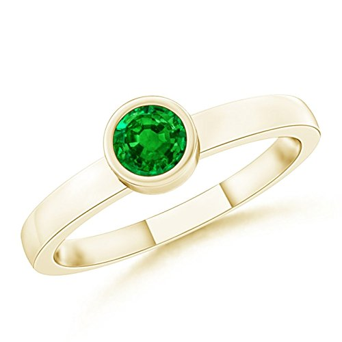(Bezel-Set Solitaire Round Emerald Stackable Ring for Women in 14K Yellow Gold (3.5mm Emerald) )