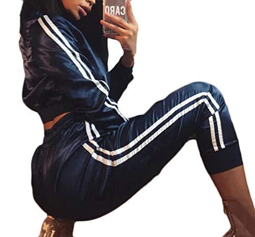 SELX Women Lightweight Jacket 2 Pcs Set Tops Sportwear Zip up Tracksuit Blue US M