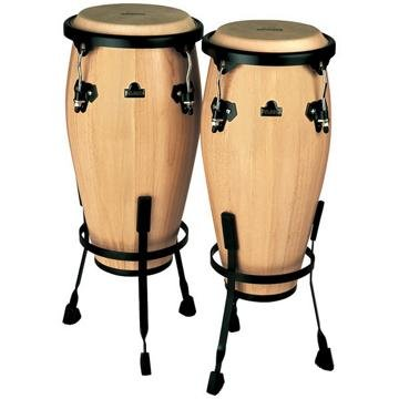 Nino Percussion NINO89NT 8-Inch and 9-Inch Wood Conga Set with Stands, Natural Finish