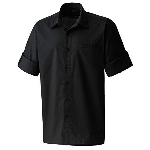 Roll sleeve poplin shirt(Black, M)