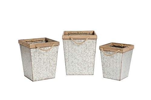Special T Imports Set of 3 Rustic Metal & Wood Square Bins Assorted Sizes ()