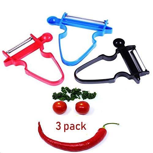 Magic Trio Peeler, LSXD Vegetable Peeler Slicer Shredder Multi-function Fruit Cutter Zesters for Ribbons/Potatoes/Carrots/Apples/and Any Vegetables (Set of 3)]()
