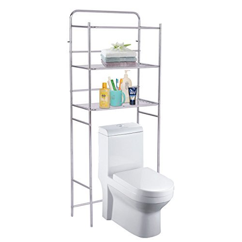 Moon Daughter 3-Tier Over The Toilet Space Saver Bathroom Storage Shelf Rack Organizer Chrome 18.5 lbs Capacity per Tier by Moon_Daughter