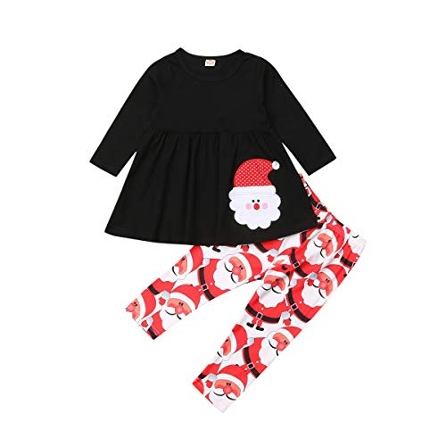 Toddler Kid Baby Girls Christmas Outfit Santa Claus Long Sleeve Tops Dress Pants Leggings Clothing Set (4-5Y, Red+Black)