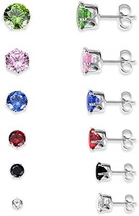 YiYi Operation 6 Pairs 3-8mm Multicolour CZ S925 Sterling Silver Stud Earring Sets Women's Wedding