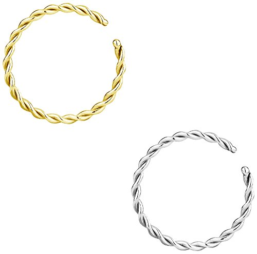 Forbidden Body Jewelry Set of 18g 10mm (5/16 Inch) Gold IP Plated and Surgical Steel Braided Hoop Rings