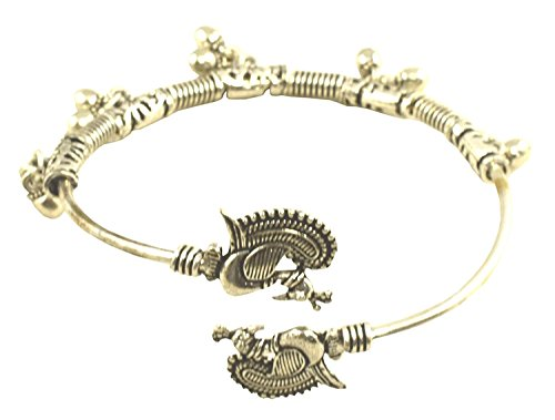- Tripti Indian Charming Adjustable Brass Bangle Bracelet with Peacock Motifs and Ghunghroo Drops for Women and Girls