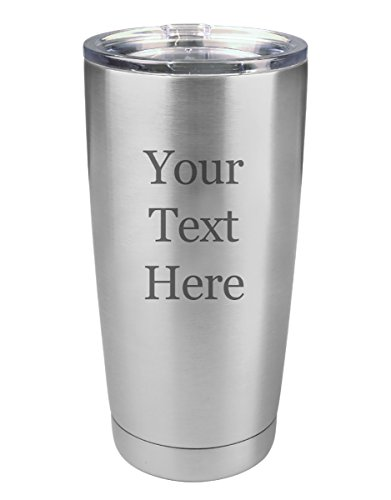 Customized 3D Laser Engraved Personalized Polar Camel 20 oz. Vacuum Insulated Custom Tumbler Mug with Clear Lid (Silver)