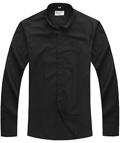 Ivyrobes Men S Tab Collar Long Sleeve Clergy Shirt Black
