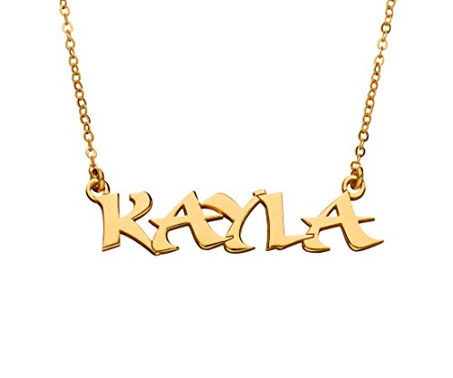 Capital Letters Block Name Necklace - 24K Gold Plated - Personalized Custom Made Nameplate Charm Chain