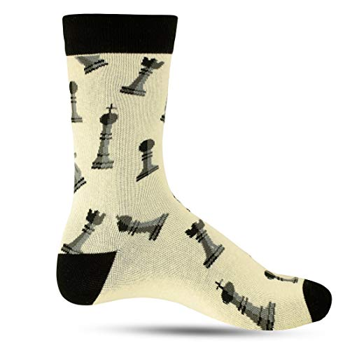 Cool Novelty Fun Socks For Men: Mens Funny Dress Socks: Crazy & Funky Colorful Sock: Hobbies Chess Board