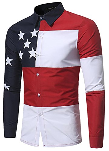Star Long Sleeve Button Front - SYTX Mens Stylish Color Block Stars Long Sleeve Button Front Shirts 1 US L