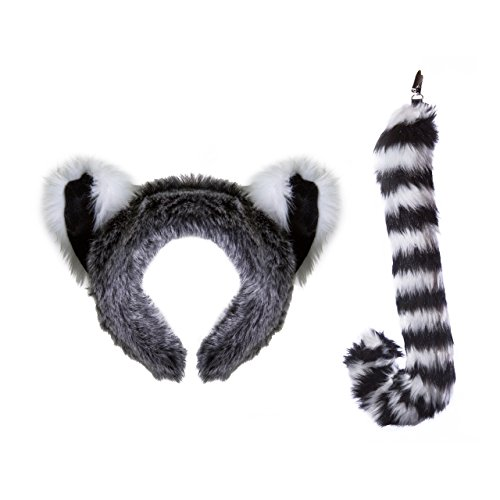 Wildlife Tree Plush Ring-Tailed Lemur Ears Headband and Tail Set for Lemur Costume, Cosplay, Pretend Animal Play or Safari Party Costumes -