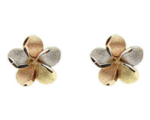 14K solid tricolor yellow pink white gold 9mm Hawaiian plumeria flower earrings