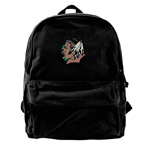 WUHONZS Canvas Backpack North Dakota Fighting Sioux Logo Rucksack Gym Hiking Laptop Shoulder Bag Daypack for Men Women