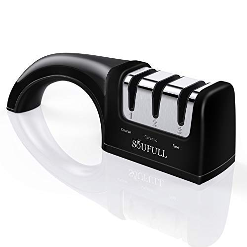 Professional Knife Sharpener- Soufull 3 Stage Diamond Coated Sharpening With Ceramic Rod - Non-slip Base Sharpening Knife Easy To Control -Knife Sharpening ( Black )