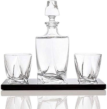 KPTKP Vasos de Whisky de 10 onzas y Botellas de 26 onzas con 2 Tazas de Cristal sin Plomo en una Bandeja de Madera