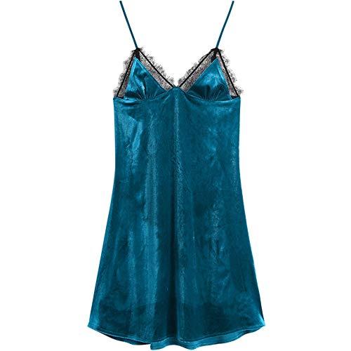 La Camisón Green Con En Halter Liga Fuera Terciopelo Cuello V Sexy Otoño Mmllse Encaje Se Puede Falda Usar De Pijamas HXzfSwx