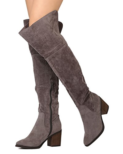 Breckelles GB17 Women Faux Suede Over The Knee Pointy Toe Block Heel Boot - Grey (Size: 6.0)