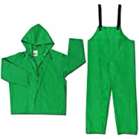 MCR Safety 3882X7 Dominator PVC/Polyester 2-Piece Rainsuit with Attached Drawstring Hood, Green, 7X-Large by MCR Safety