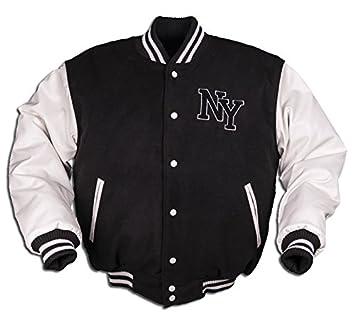 Mil-Tec – NY Béisbol Chaqueta M. Patch Negro/Blanco