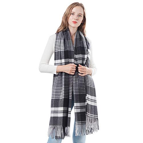 Men Cashmere Wool Scarf Women Pashminas Wraps Soft Shawls Plaid Large Stole Warm Blanket (Black+White Plaid)