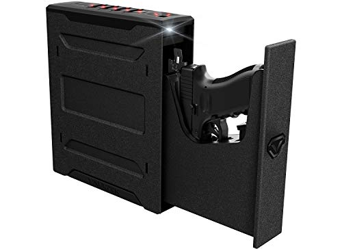 Powder Handguns Black (Vaultek Slider Series Rugged Bluetooth Smart Handgun Safe Quick Open Pistol Safe with Rechargeable Li-ion Battery (Biometric))