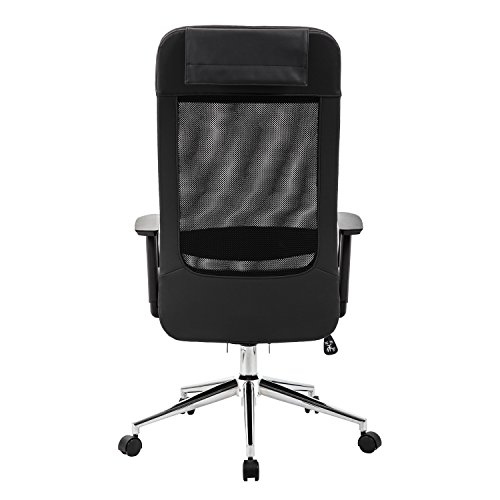 KADIRYA Extra High Back Mesh Office Chair - Computer Desk Task Chair with Padded Leather Removeable Headrest and Seat,Adjustable Armrest, Ergonomic Design for Back Lumbar Support, Black (Black) Photo #2