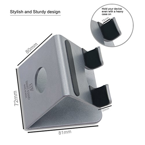 ELV Desktop Cell Phone Stand Tablet Stand, Aluminum Stand Holder for Mobile Phone (All Size) and Tablet (Up to 10.1 inch) - Silver