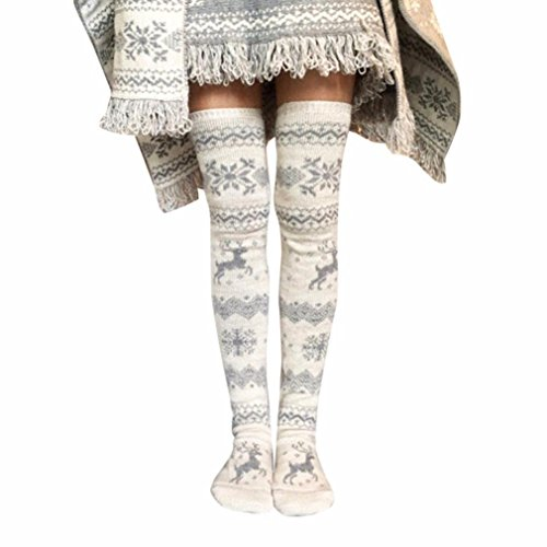 (DMZing Christmas Women's Winter Cable Cotton Knitted Long Boot Thigh-High Soft Crochet Boot Moose Print Socks Leggings )