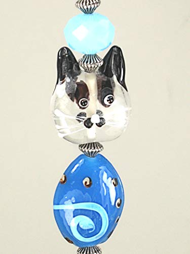 Blue Swirl Glass and Clear Double-Sided Kitty Cat Face Ceiling Fan Pull Chain/Light Pull