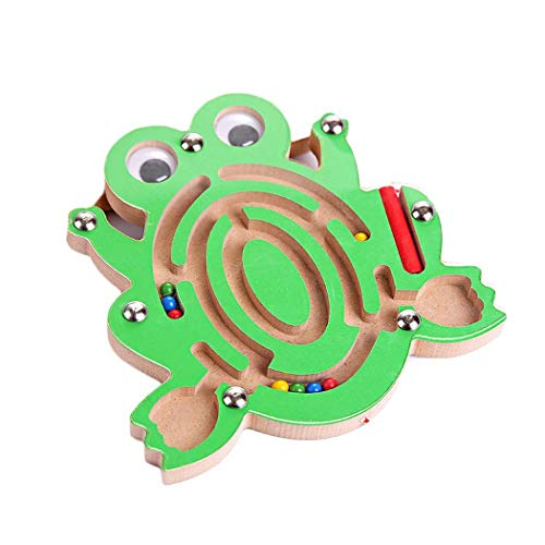 ICCUN Kids Wooden Animal Track Beads Magnetic Pens Moving Maze Toys ()