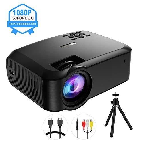 Mpow-Proyector-Full-HD-con-Trpode-3200-Lmenes-LED-1280-720P-Mini-Proyector-Porttil-Multimedia-Cine-en-Casa-45-con-HDMI-VGA-AV-USB-Puertos-MicroSD-para-TV-Videojuegos-Pelculas-Partidos ES