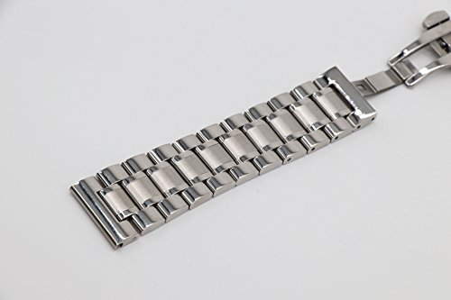 22mm Universal Curved End Metal Watch Band Solid 304 Stainless Steel Adjustable Silver SS Watch Strap by autulet (Image #3)