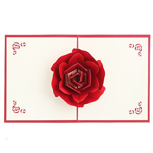 Ups Business Card - Birthday Card 3D Pop UP Rose Greeting Cards Fantastic Flower Handmade Gift Card 5x6.1 inches