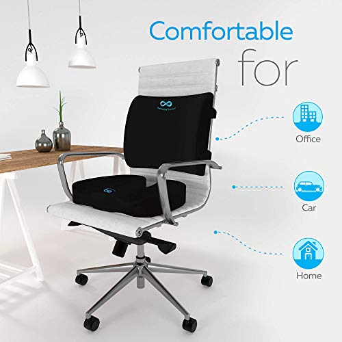 Memory Foam Seat Cushion/Back Cushion Combo, Gel Infused & Ventilated, Orthopedic Design. Perfect for Office Chair, Relieves Back, Coccyx, Sciatica, Tailbone, Lumbar Pain, by Everlasting Comfort by Everlasting Comfort (Image #2)