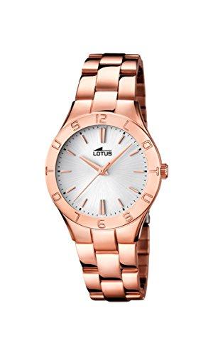 Lotus-0-Reloj-de-cuarzo-para-mujer-con-correa-de-acero-inoxidable-color-oro-rosa